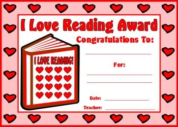 I Love Reading Award Certificate