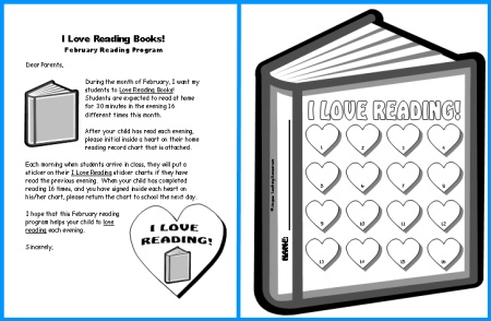 Home Reading Record Sticker Chart Valentine's Day
