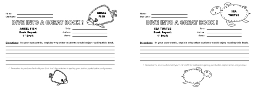Fish Book Report Projects:  Angel Fish and Turtle