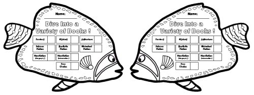 Black and White Fish Sticker Chart Templates