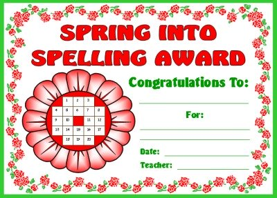Spring Flower Student Award Certificate for Sticker Charts