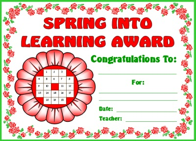 Spring Flower Award Certificate for Sticker Charts