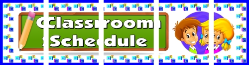 Assemble these 5 pages together to create a free classroom schedule bulletin board display banner for your classroom.