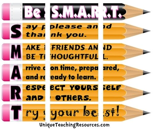Assemble these 3 pages together to create a free classroom rules bulletin board display.