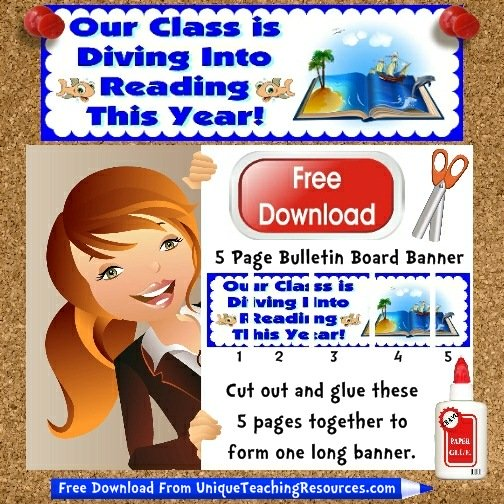 Download Free Dive Into Reading Bulletin Board Display Banner
