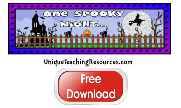 Click here to download this free Halloween teaching resources bulletin board display banner.