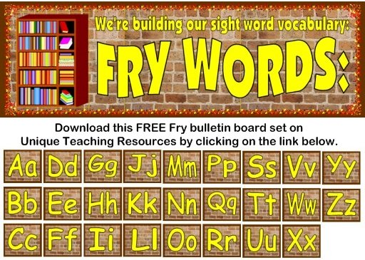 Download this free Fry 1000 Instant Sight Words bulletin board display set for elementary school teachers on Unique Teaching Resources.