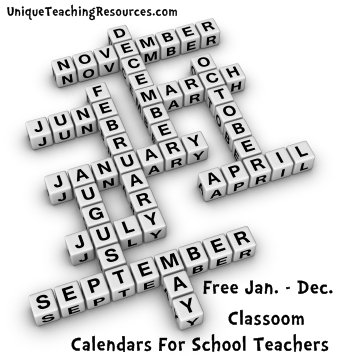 Free January through December classroom display calendars for teachers to download.