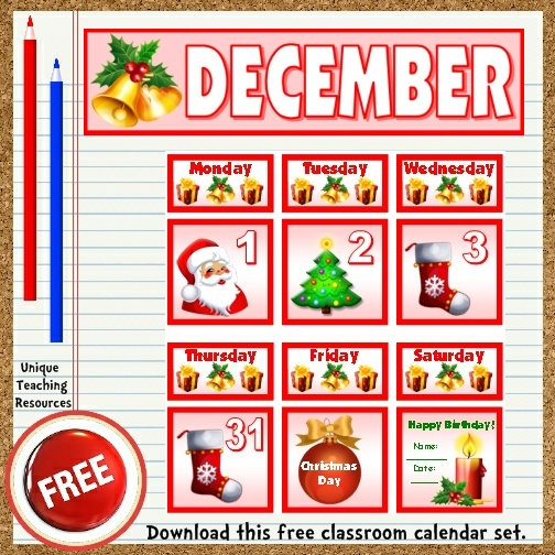 Download this free Christmas calendar set from Unique Teaching Resources.  Perfect for pocket charts!