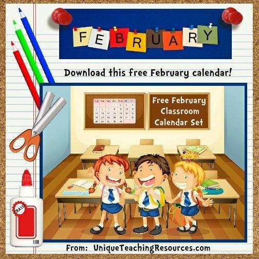 Free Printable February Classroom Calendar For School Teachers
