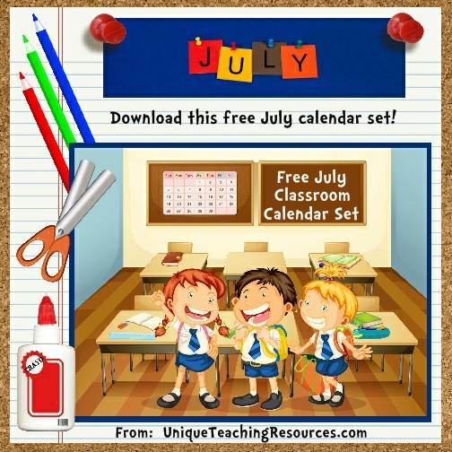 Free Printable July Classroom Calendar For School Teachers