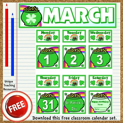 Download this free March calendar set from Unique Teaching Resources.  Perfect for pocket charts!