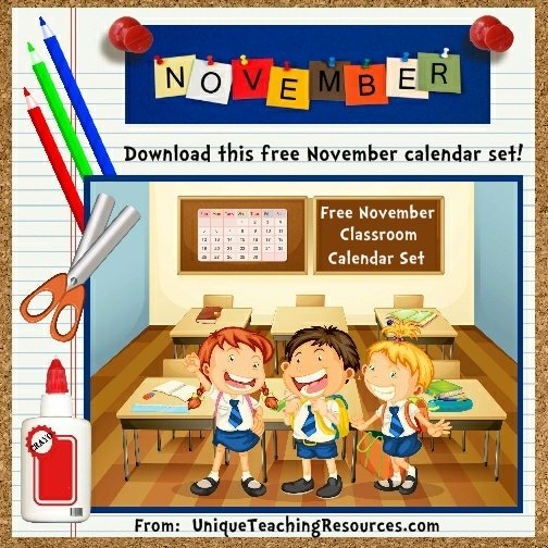 Free Printable November Classroom Calendar For School Teachers