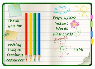 Download Free Fry 1000 Instant Word Flashcards On Unique Teaching Resources