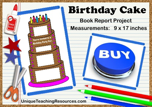 Fun Ideas For Book Report Projects:  Birthday Cake Templates