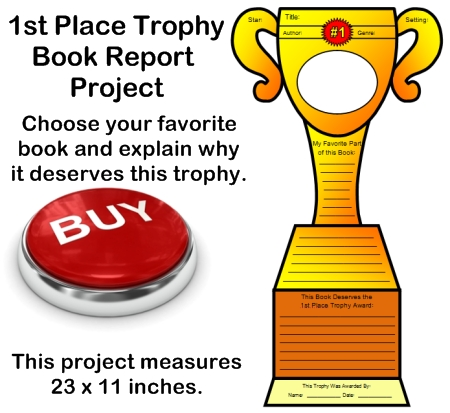 Favorite Book Report Project Ideas: First Place Trophy Book Templates  First Place Award Template