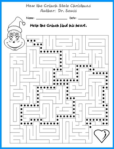 How the Grinch Stole Christmas Maze Puzzle Worksheet