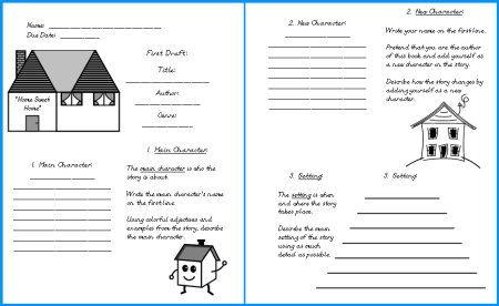 House Book Report Project First Draft Writing Worksheets