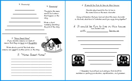 House Book Report Project First Draft Reading Worksheets