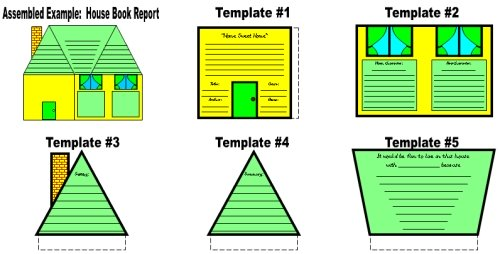 Unique House Book Report Project Templates and Worksheets Elementary School Students