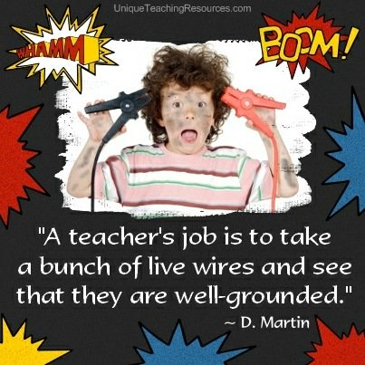 A teacher's job is to take a bunch of live wires and see that they are well-grounded.