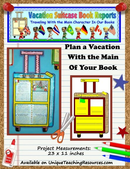 Fun Book Report Project Ideas - Main Character Vacation Suitcase Templates