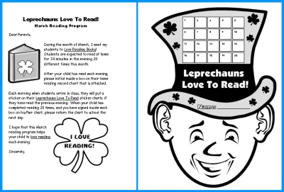 Home Reading Record Program Sticker Chart St. Patrick's Day