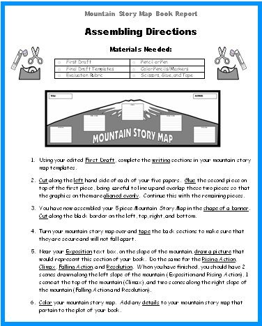 Directions for Mountain Book Report Projects Graphic Organizer Templates