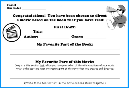 Movie Camera Book Report First Draft Writing Worksheets