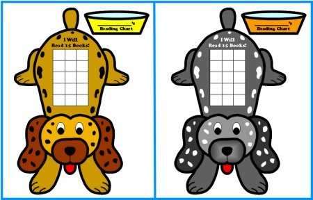 Reading Sticker Charts and Templates:  Puppy Incentive Chart Set