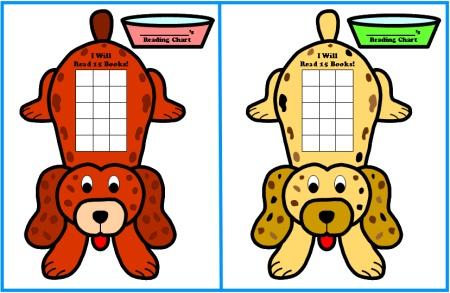 Reading Sticker Chart Templates:  Puppy Incentive Chart Set