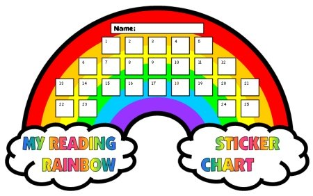 Spring Reading Rainbow Student Sticker Charts and Templates
