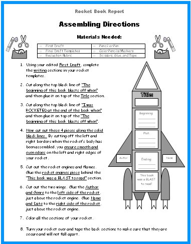 Directions for making rocket book report projects