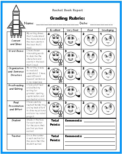 Rocket Book Report Project Reading Grading Rubric