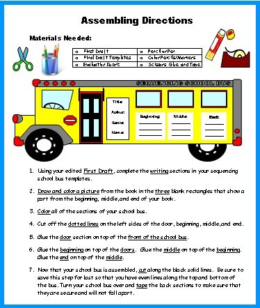 School Bus Book Report Projects Assembling Directions for Templates