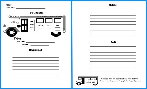 School Bus Book Report First Draft Worksheets