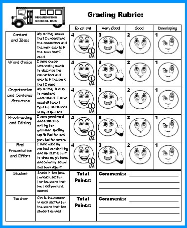School Bus Book Report Projects Grading Rubric