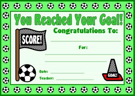 Soccer Sticker Chart Student Award Certificate