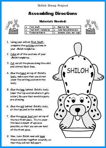 Shiloh Directions Worksheet for assembling group project