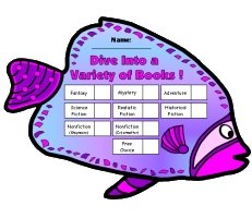 Dive Into Reading Angel Fish Sticker Chart Template