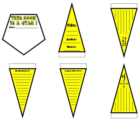 Star Shaped Book Report Projects Color Templates Examples and Ideas