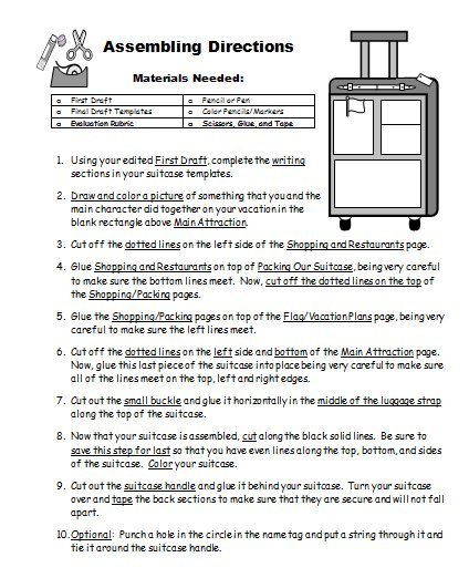 Vacation Suitcase Book Report Projects Directions Printable Worksheets