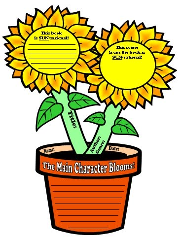 Sunflower Book Report Project Templates and Graphic Organizers