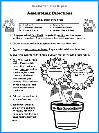 Sunflower Book Report Project Elementary Student Directions Worksheet