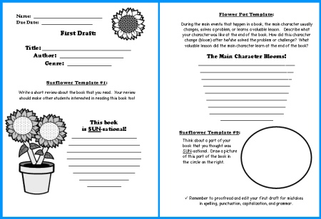 Sunflower Book Report First Draft Writing Worksheets