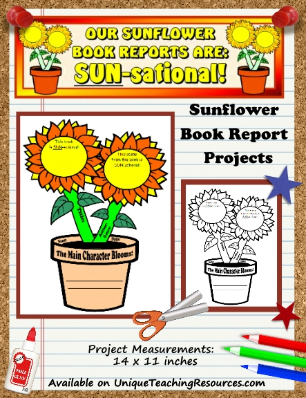 sunflower book report projects templates worksheets grading