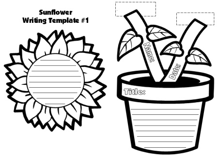 Spring Sunflower Creative Writing Templates for Elementary Students
