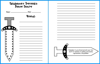 Writing Myths and Legends Creative Writing First Draft Worksheets