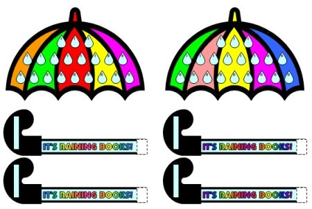 April Reading Umbrella Sticker Chart Templates