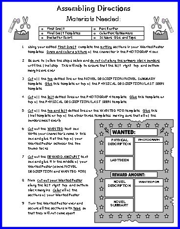 Wanted Poster Book Report Assembling Directions